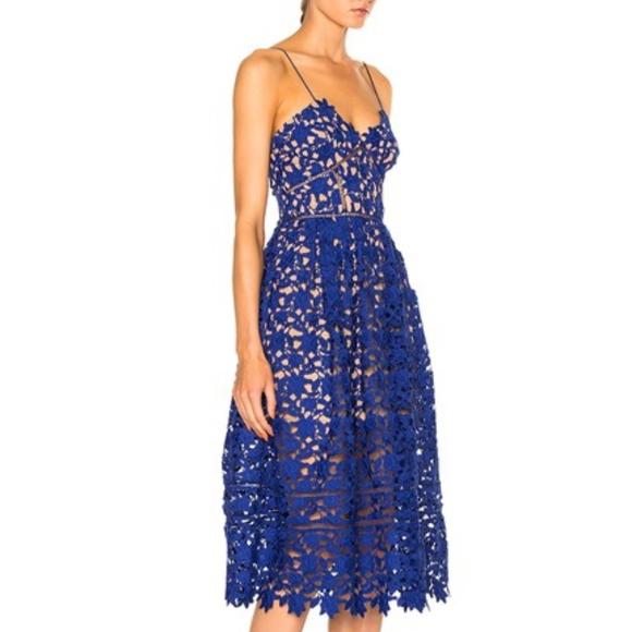 e86168ea261a Self-Portrait Dresses | Selfportrait Blue Azaelea Guipure Lace Dress ...